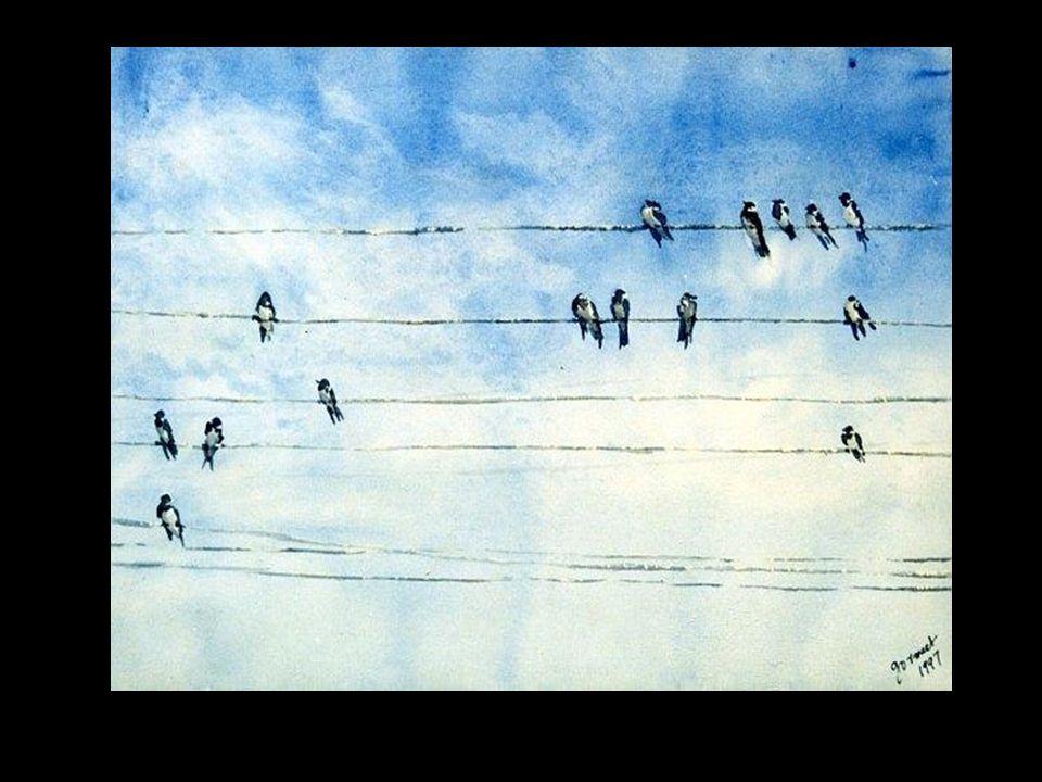 Os pássaros pousados na pauta dos fios do telégrafo, Eles é que vão sucessivamente improvisando – um após outro – A letra e a música dos ventos... Mar