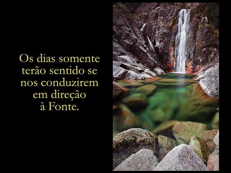 É preciso caminhar, caminhar, e caminhar, para se alcançar a Fonte. A Fonte que sacia a sede da alma. A água, cujo frescor satisfaz os anseios do cora