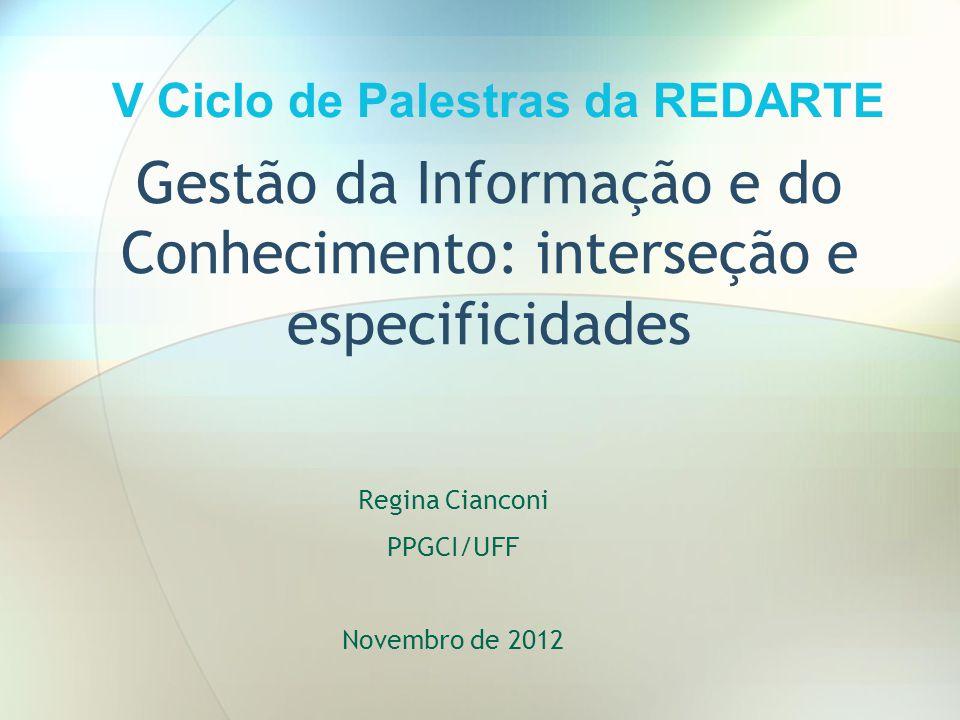 Gestão da Informação e do Conhecimento: interseção e especificidades Regina Cianconi PPGCI/UFF Novembro de 2012 V Ciclo de Palestras da REDARTE