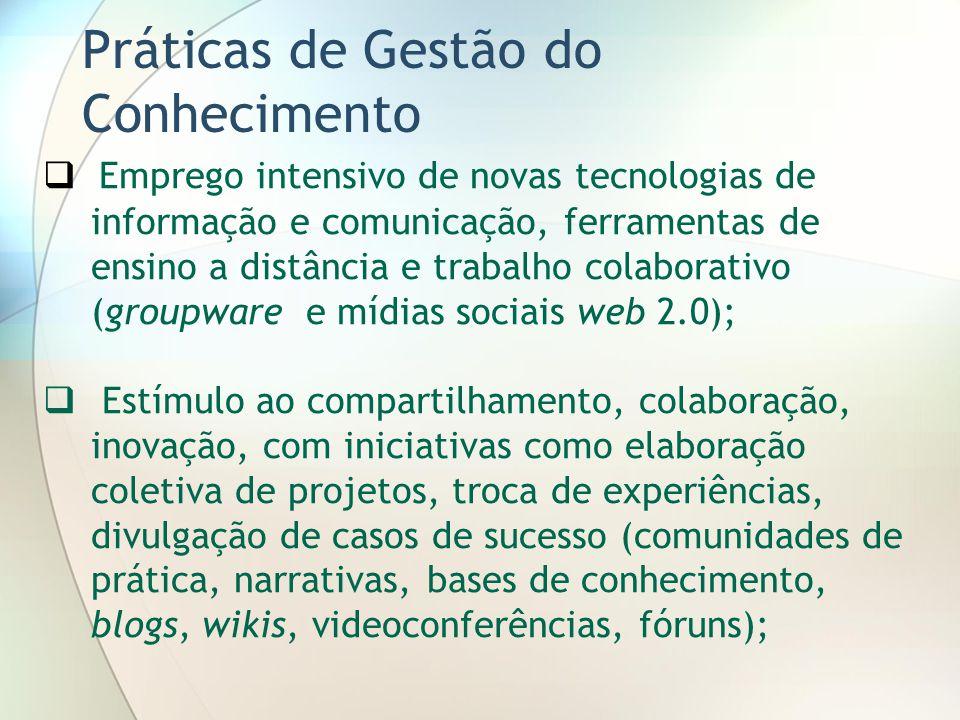 Práticas de Gestão do Conhecimento Emprego intensivo de novas tecnologias de informação e comunicação, ferramentas de ensino a distância e trabalho co