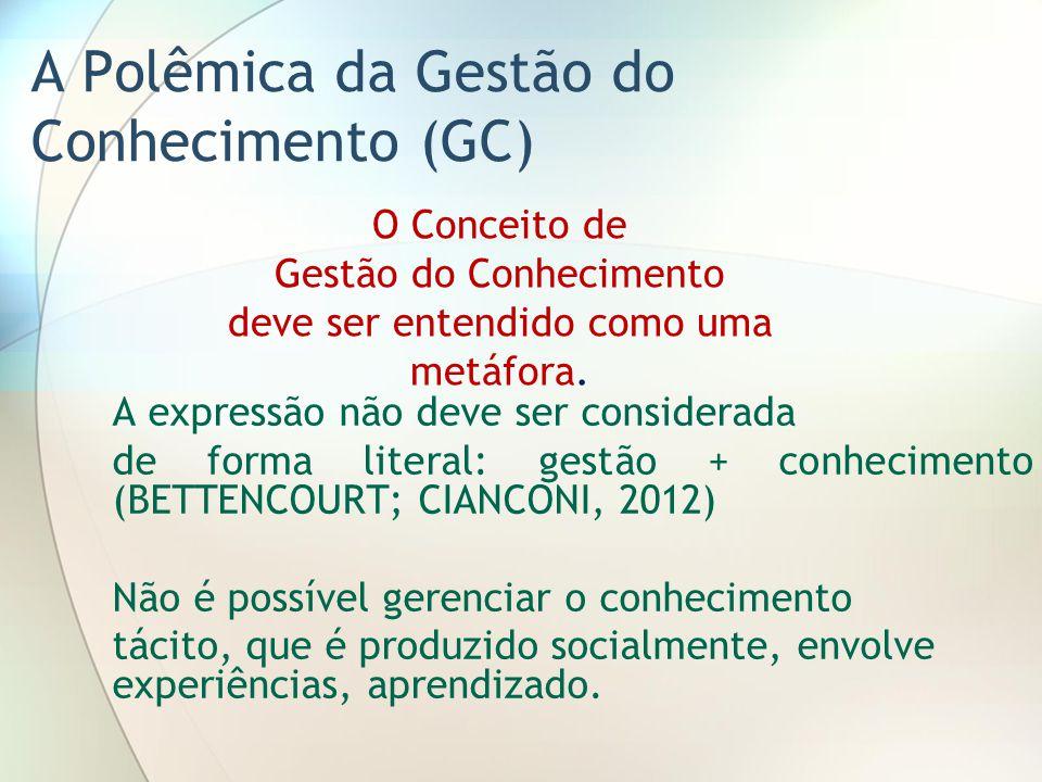 A Polêmica da Gestão do Conhecimento (GC) A expressão não deve ser considerada de forma literal: gestão + conhecimento (BETTENCOURT; CIANCONI, 2012) N
