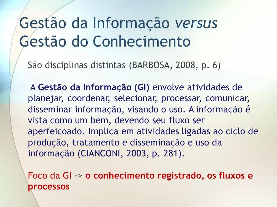 Gestão da Informação versus Gestão do Conhecimento São disciplinas distintas (BARBOSA, 2008, p. 6) A Gestão da Informação (GI) envolve atividades de p
