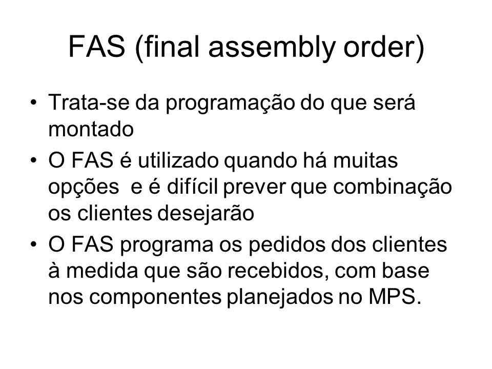FAS (final assembly order) Trata-se da programação do que será montado O FAS é utilizado quando há muitas opções e é difícil prever que combinação os