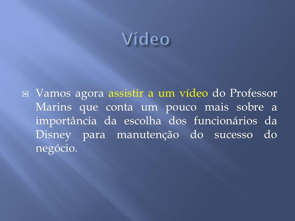 Vamos agora assistir a um vídeo do Professor Marins que conta um pouco mais sobre a importância da escolha dos funcionários da Disney para manutenção