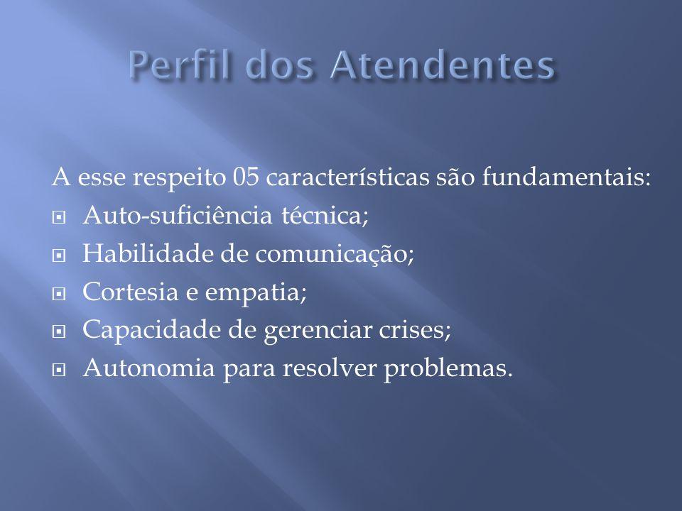 A esse respeito 05 características são fundamentais: Auto-suficiência técnica; Habilidade de comunicação; Cortesia e empatia; Capacidade de gerenciar