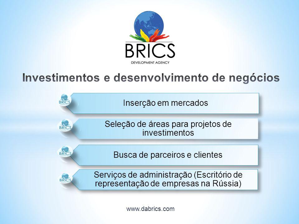 Inserção em mercados Seleção de áreas para projetos de investimentos Busca de parceiros e clientes Serviços de administração (Escritório de representa