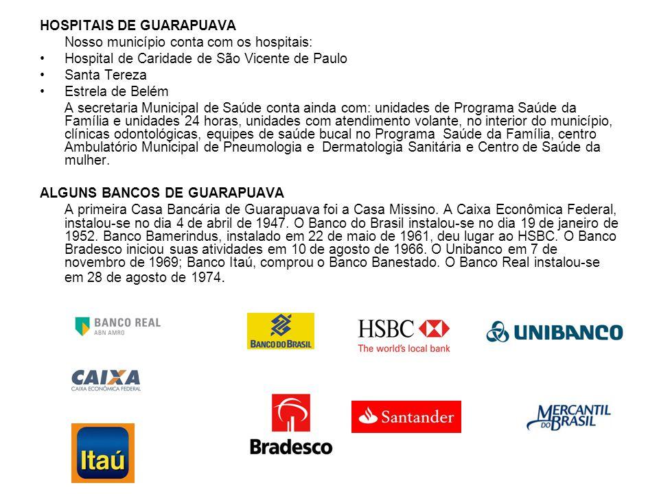 HOSPITAIS DE GUARAPUAVA Nosso município conta com os hospitais: Hospital de Caridade de São Vicente de Paulo Santa Tereza Estrela de Belém A secretari