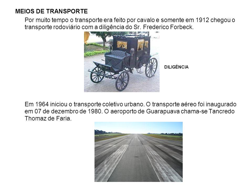 MEIOS DE TRANSPORTE Por muito tempo o transporte era feito por cavalo e somente em 1912 chegou o transporte rodoviário com a diligência do Sr. Frederi