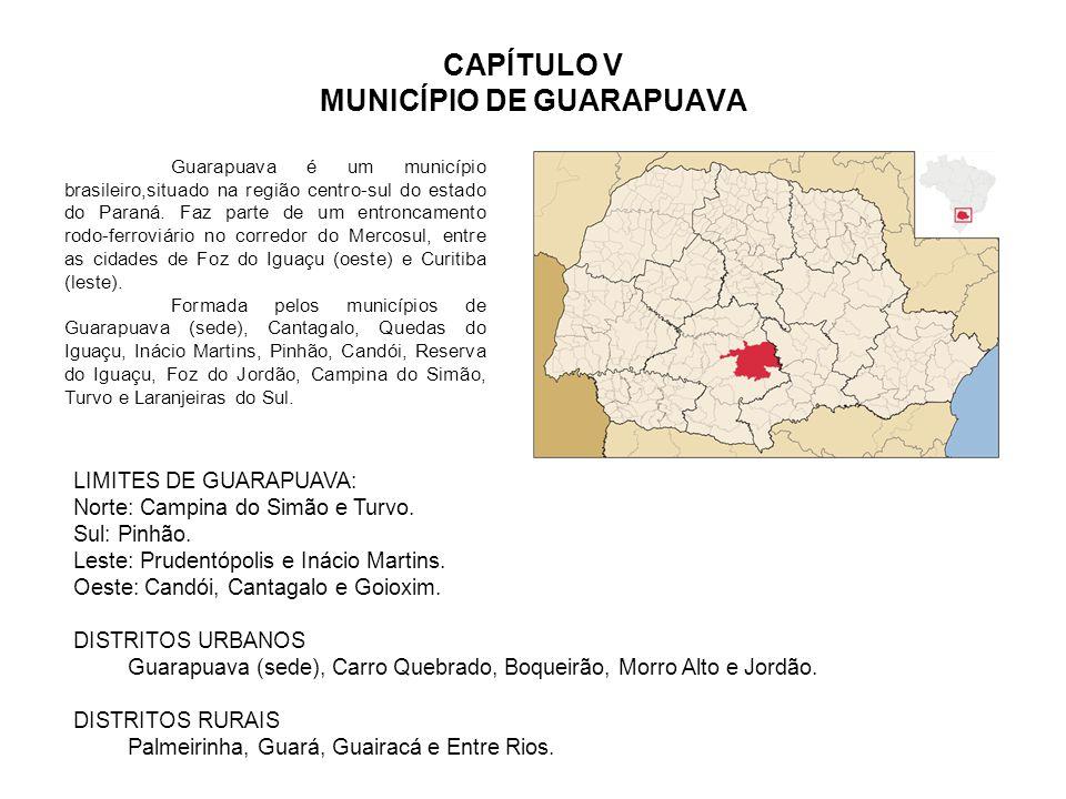 CAPÍTULO V MUNICÍPIO DE GUARAPUAVA Guarapuava é um município brasileiro,situado na região centro-sul do estado do Paraná. Faz parte de um entroncament
