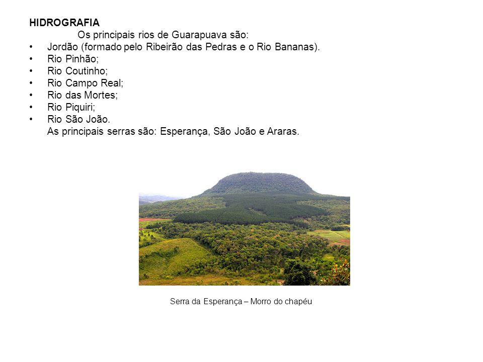 HIDROGRAFIA Os principais rios de Guarapuava são: Jordão (formado pelo Ribeirão das Pedras e o Rio Bananas). Rio Pinhão; Rio Coutinho; Rio Campo Real;