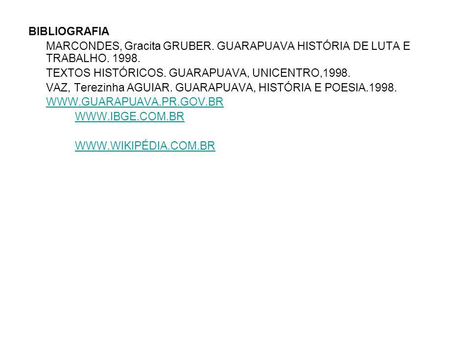 BIBLIOGRAFIA MARCONDES, Gracita GRUBER. GUARAPUAVA HISTÓRIA DE LUTA E TRABALHO. 1998. TEXTOS HISTÓRICOS. GUARAPUAVA, UNICENTRO,1998. VAZ, Terezinha AG
