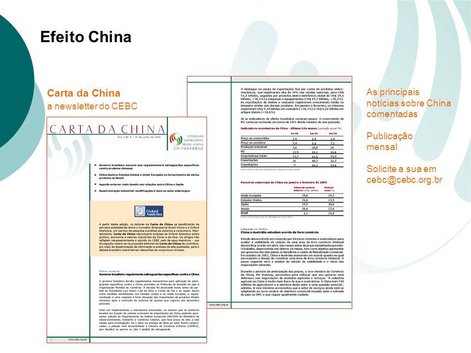 Efeito China Carta da China a newsletter do CEBC As principais notícias sobre China comentadas Publicação mensal Solicite a sua em cebc@cebc.org.br