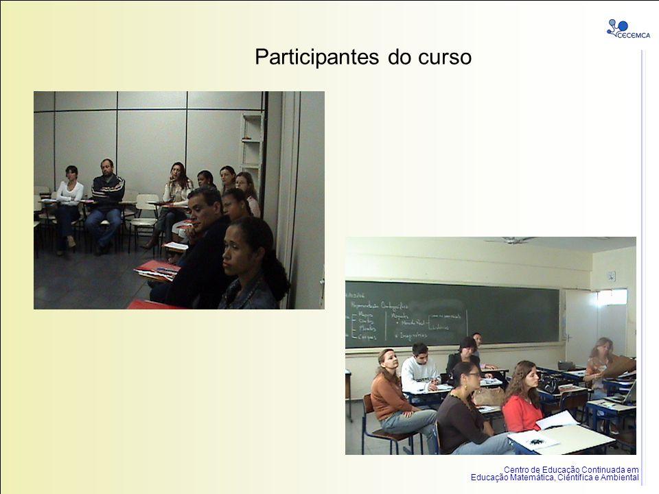 Centro de Educação Continuada em Educação Matemática, Científica e Ambiental Participantes do curso