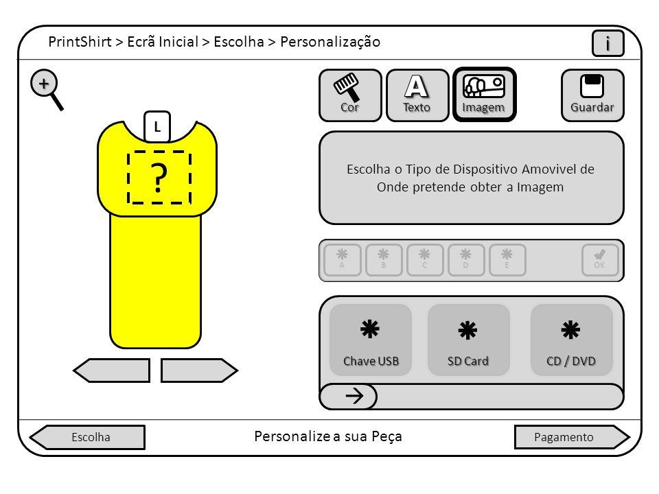 ? L PrintShirt > Ecrã Inicial > Escolha > Personalização iiii Personalize a sua Peça + Cor Texto ImagemGuardar Escolha o Tipo de Dispositivo Amovivel
