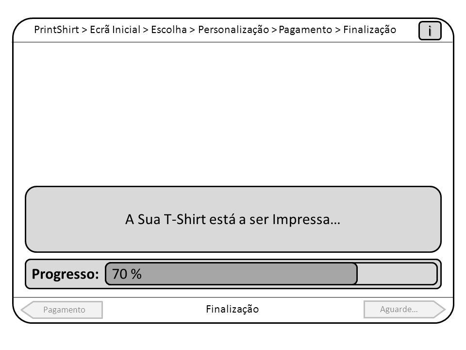 PrintShirt > Ecrã Inicial > Escolha > Personalização > Pagamento > Finalização Finalização Pagamento Aguarde… i A Sua T-Shirt está a ser Impressa… Pro