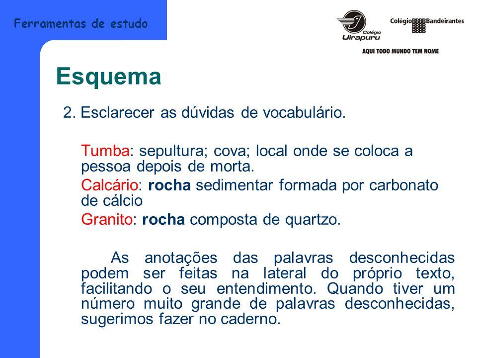 Ferramentas de estudo Esquema 2. Esclarecer as dúvidas de vocabulário. Tumba: sepultura; cova; local onde se coloca a pessoa depois de morta. Calcário