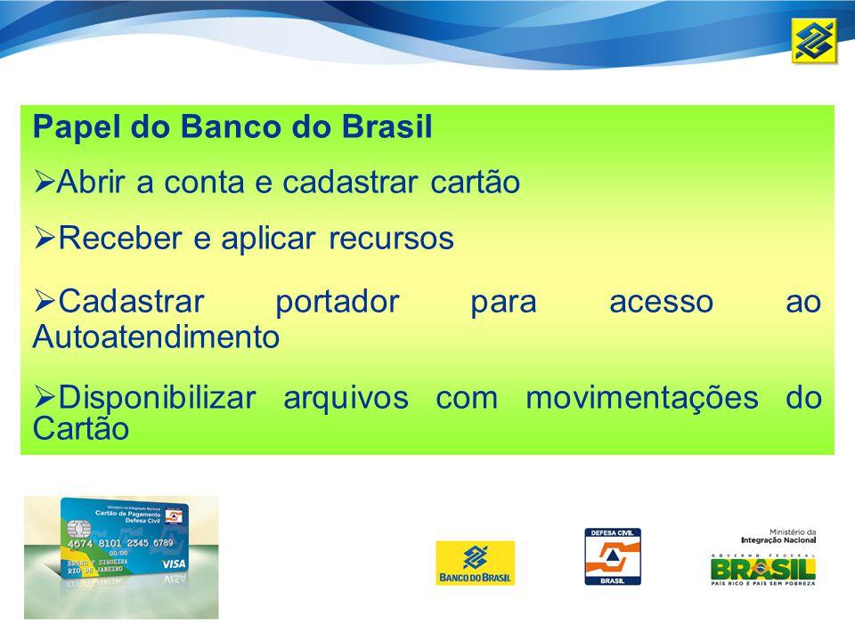 Papel do Banco do Brasil Abrir a conta e cadastrar cartão Receber e aplicar recursos Cadastrar portador para acesso ao Autoatendimento Disponibilizar arquivos com movimentações do Cartão