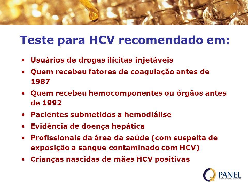 Teste para HCV recomendado em: Usuários de drogas ilícitas injetáveis Quem recebeu fatores de coagulação antes de 1987 Quem recebeu hemocomponentes ou