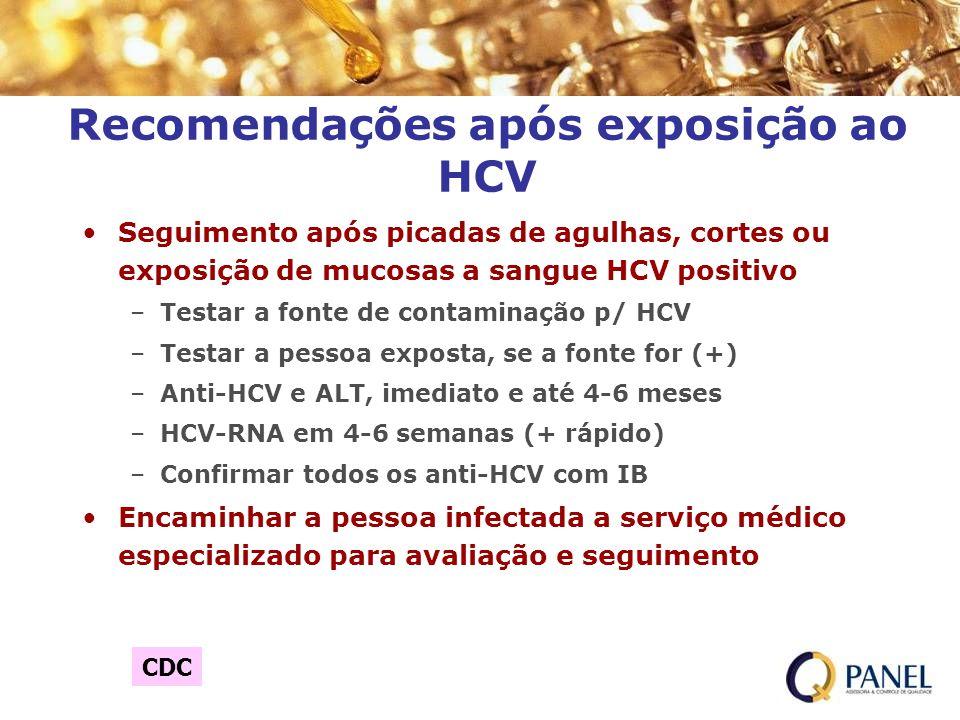 Recomendações após exposição ao HCV Seguimento após picadas de agulhas, cortes ou exposição de mucosas a sangue HCV positivo –Testar a fonte de contam