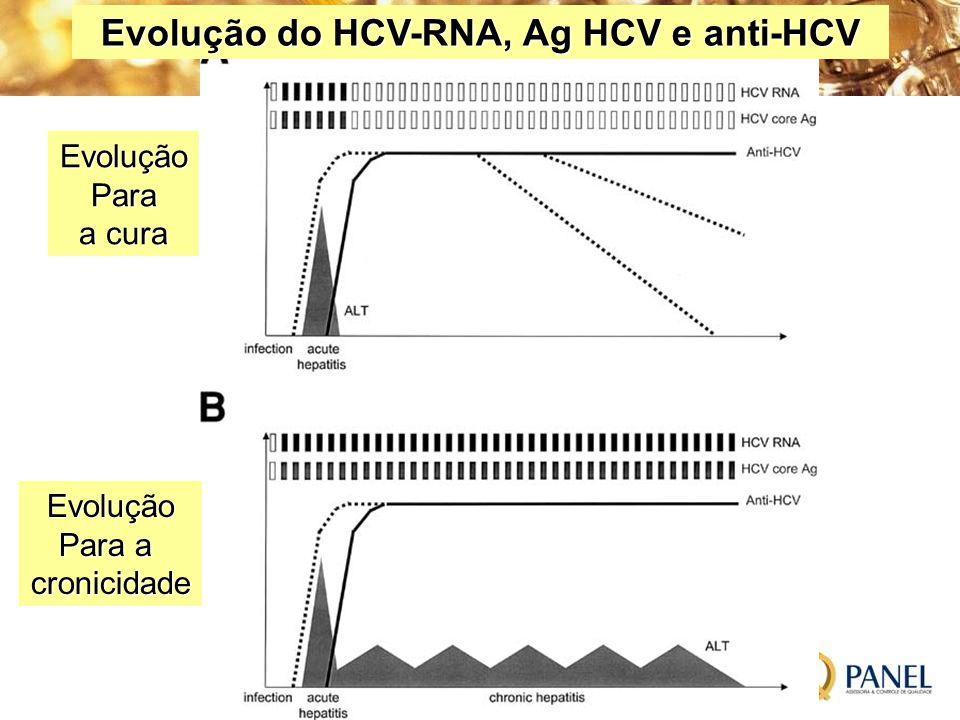 Evolução do HCV-RNA, Ag HCV e anti-HCV EvoluçãoPara a cura Evolução Para a cronicidade