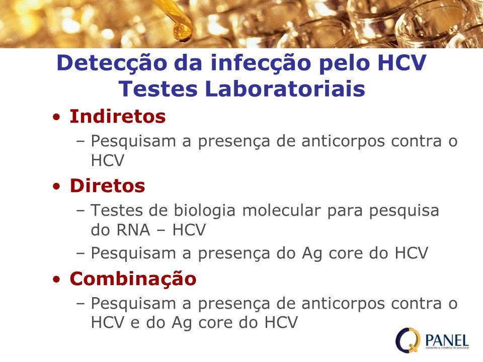 Detecção da infecção pelo HCV Testes Laboratoriais Indiretos –Pesquisam a presença de anticorpos contra o HCV Diretos –Testes de biologia molecular pa
