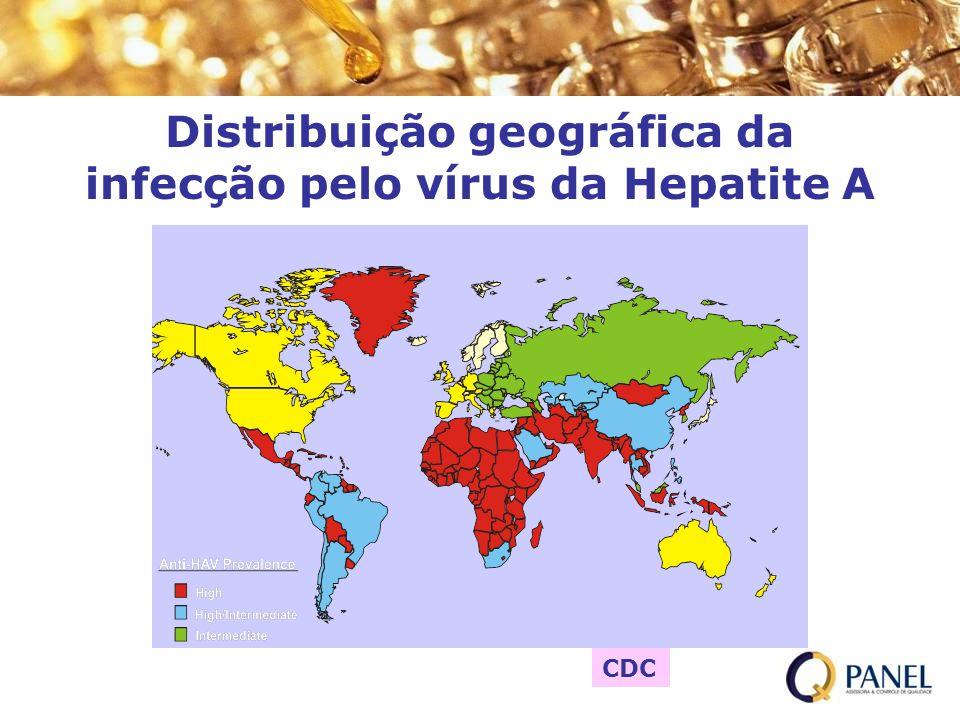 Distribuição geográfica da infecção pelo vírus da Hepatite A CDC