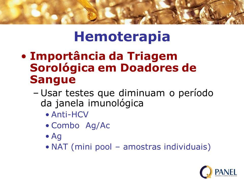 Hemoterapia Importância da Triagem Sorológica em Doadores de Sangue –Usar testes que diminuam o período da janela imunológica Anti-HCV Combo Ag/Ac Ag