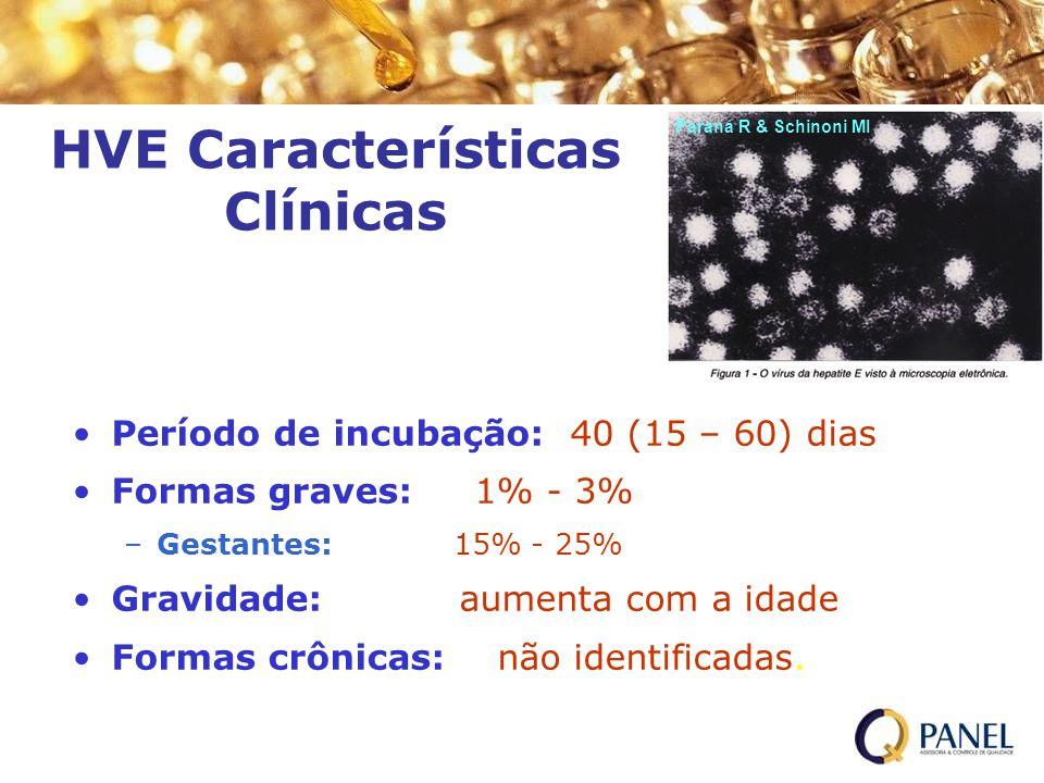 HVE Características Clínicas Período de incubação:: 40 (15 – 60) dias Formas graves: 1% - 3% –Gestantes: 15% - 25% Gravidade: aumenta com a idade Form