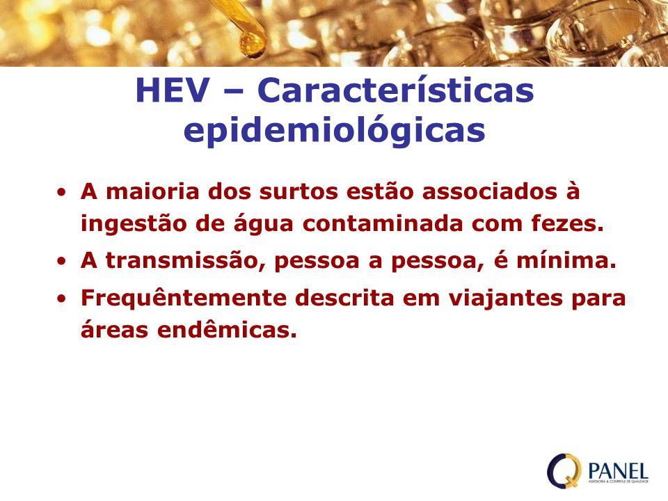 HEV – Características epidemiológicas A maioria dos surtos estão associados à ingestão de água contaminada com fezes. A transmissão, pessoa a pessoa,