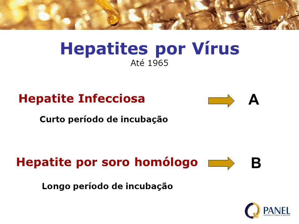 Hepatites por Vírus Até 1965 Hepatite Infecciosa Hepatite por soro homólogo Curto período de incubação Longo período de incubação A B