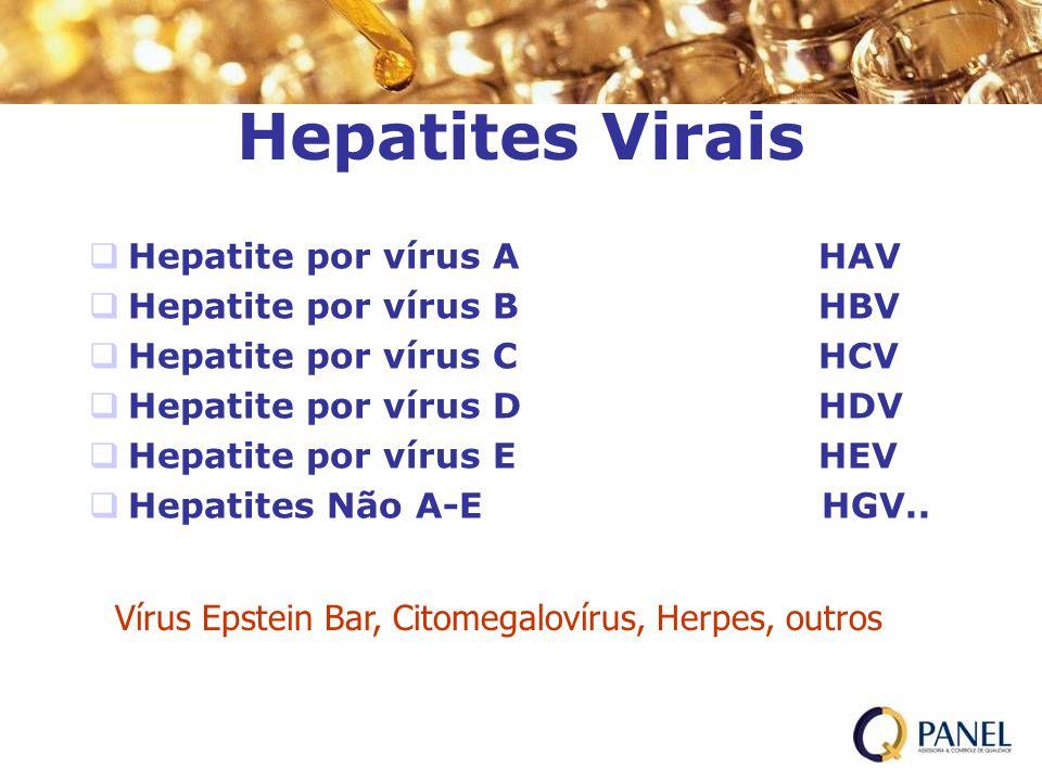 Hepatites Virais Hepatite por vírus AHAV Hepatite por vírus BHBV Hepatite por vírus CHCV Hepatite por vírus DHDV Hepatite por vírus EHEV Hepatites Não