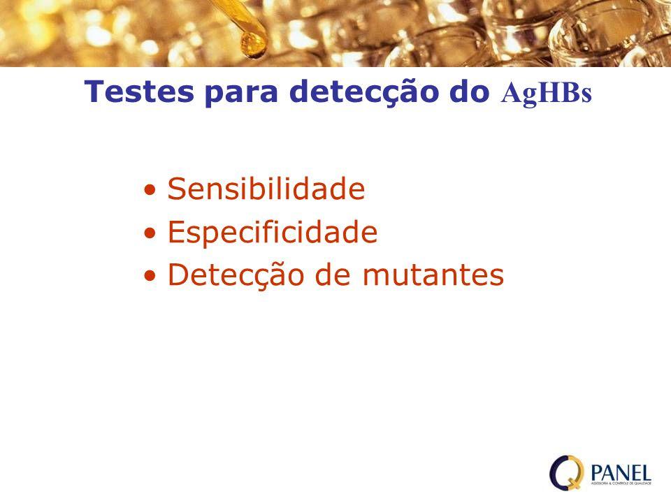 Testes para detecção do AgHBs Sensibilidade Especificidade Detecção de mutantes