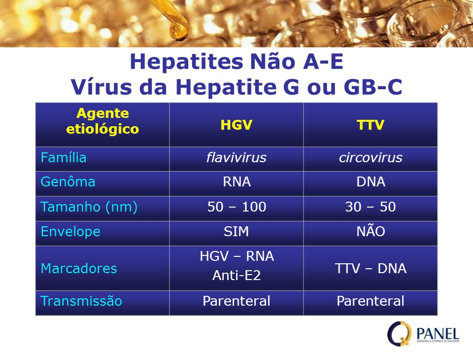 Hepatites Não A-E Vírus da Hepatite G ou GB-C Agente etiológico HGVTTV Famíliaflaviviruscircovirus GenômaRNADNA Tamanho (nm)50 – 10030 – 50 EnvelopeSI