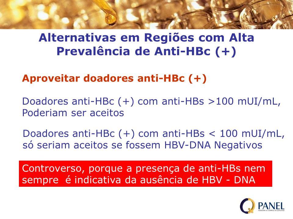 Alternativas em Regiões com Alta Prevalência de Anti-HBc (+) Doadores anti-HBc (+) com anti-HBs >100 mUI/mL, Poderiam ser aceitos Doadores anti-HBc (+