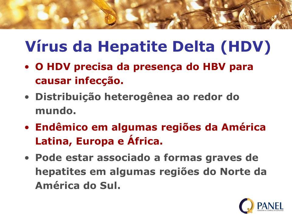 O HDV precisa da presença do HBV para causar infecção. Distribuição heterogênea ao redor do mundo. Endêmico em algumas regiões da América Latina, Euro