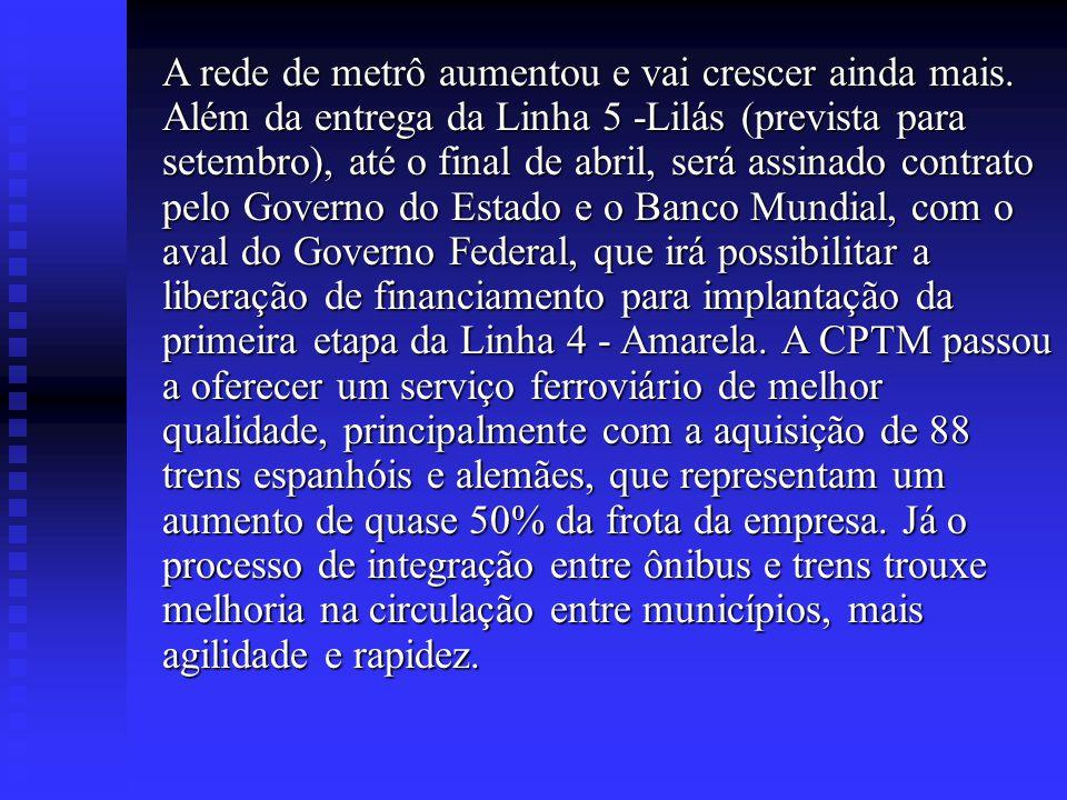 DESENVOLVIMENTO O transporte público é uma necessidade que afeta milhões de pessoas e por isso merece atenção especial do Governo do Estado de São Pau