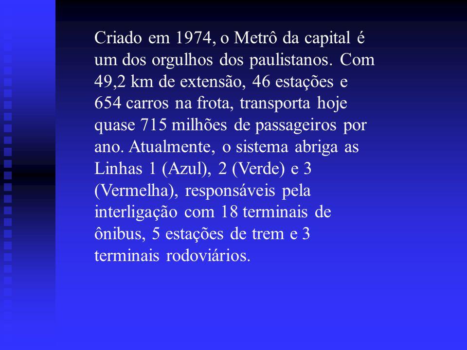 Metrô A expansão de linhas do mais moderno meio de transporte de São Paulo - o Metrô - vai passar a beneficiar mais um milhão e 250 mil pessoas por di