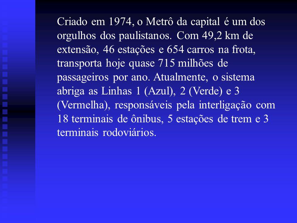 Criado em 1974, o Metrô da capital é um dos orgulhos dos paulistanos. Com 49,2 km de extensão, 46 estações e 654 carros na frota, transporta hoje quas