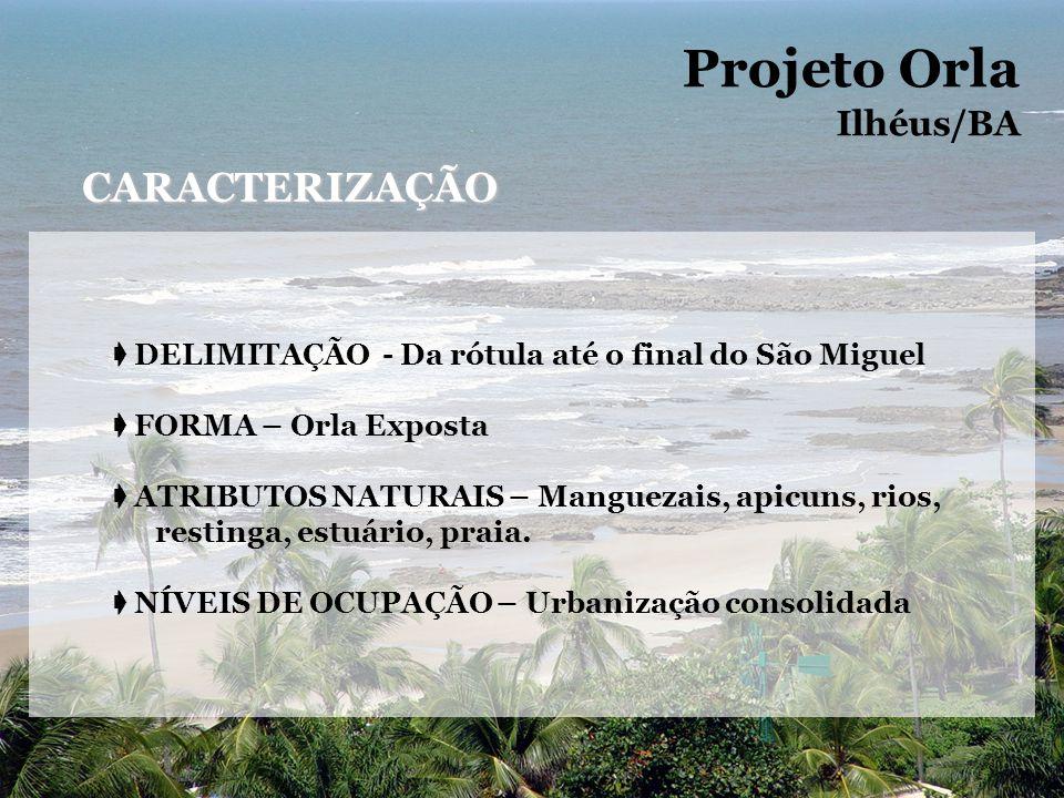 DELIMITAÇÃO - Da rótula até o final do São Miguel FORMA – Orla Exposta ATRIBUTOS NATURAIS – Manguezais, apicuns, rios, restinga, estuário, praia. NÍVE