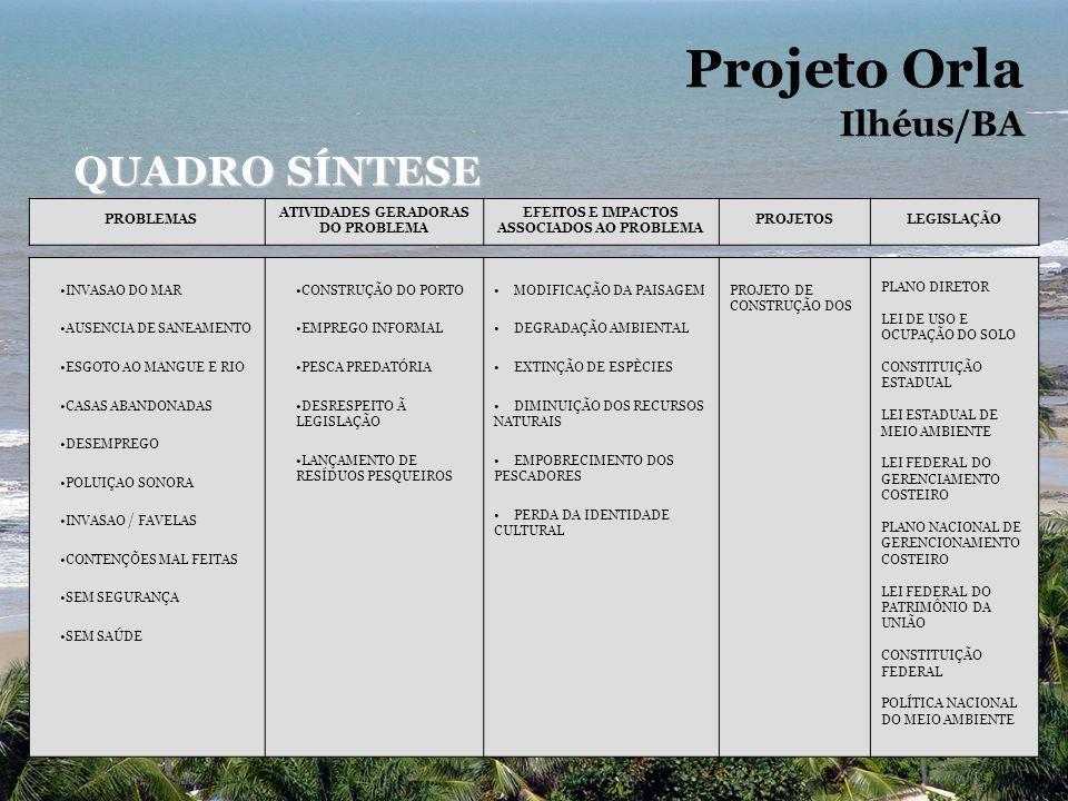 Projeto Orla Ilhéus/BA QUADRO SÍNTESE PROBLEMAS ATIVIDADES GERADORAS DO PROBLEMA EFEITOS E IMPACTOS ASSOCIADOS AO PROBLEMA PROJETOSLEGISLAÇÃO INVASAO DO MAR AUSENCIA DE SANEAMENTO ESGOTO AO MANGUE E RIO CASAS ABANDONADAS DESEMPREGO POLUIÇAO SONORA INVASAO / FAVELAS CONTENÇÕES MAL FEITAS SEM SEGURANÇA SEM SAÚDE CONSTRUÇÃO DO PORTO EMPREGO INFORMAL PESCA PREDATÓRIA DESRESPEITO Ã LEGISLAÇÃO LANÇAMENTO DE RESÍDUOS PESQUEIROS MODIFICAÇÃO DA PAISAGEM DEGRADAÇÃO AMBIENTAL EXTINÇÃO DE ESPÈCIES DIMINUIÇÃO DOS RECURSOS NATURAIS EMPOBRECIMENTO DOS PESCADORES PERDA DA IDENTIDADE CULTURAL PROJETO DE CONSTRUÇÃO DOS PLANO DIRETOR LEI DE USO E OCUPAÇÃO DO SOLO CONSTITUIÇÃO ESTADUAL LEI ESTADUAL DE MEIO AMBIENTE LEI FEDERAL DO GERENCIAMENTO COSTEIRO PLANO NACIONAL DE GERENCIONAMENTO COSTEIRO LEI FEDERAL DO PATRIMÔNIO DA UNIÃO CONSTITUIÇÃO FEDERAL POLÍTICA NACIONAL DO MEIO AMBIENTE