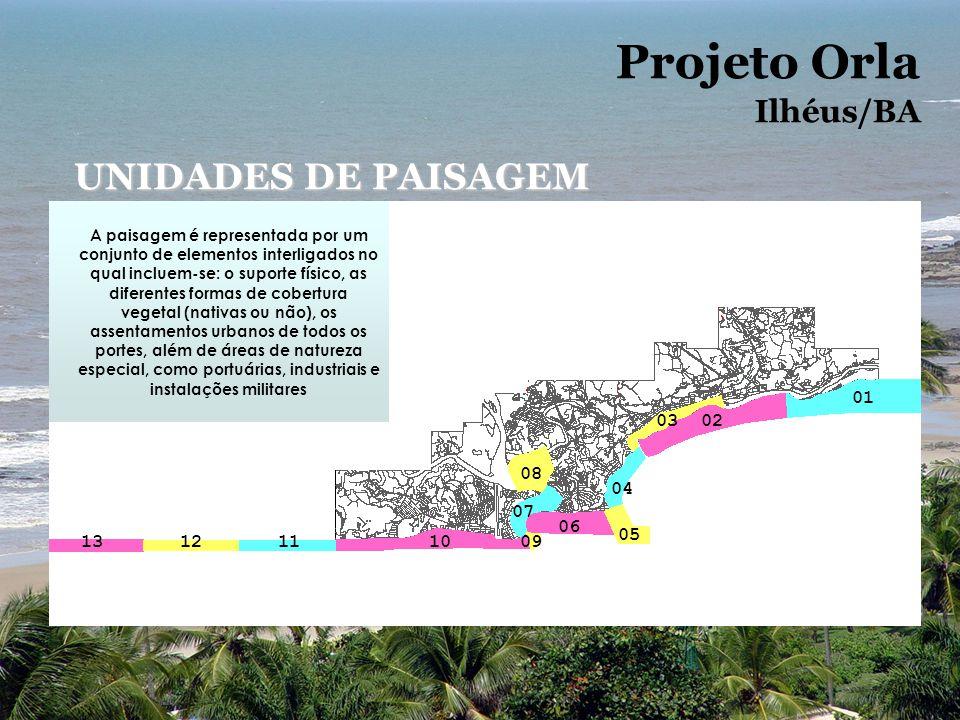 Projeto Orla Ilhéus/BA UNIDADES DE PAISAGEM 1312111009 07 08 06 05 04 0302 01 A paisagem é representada por um conjunto de elementos interligados no q