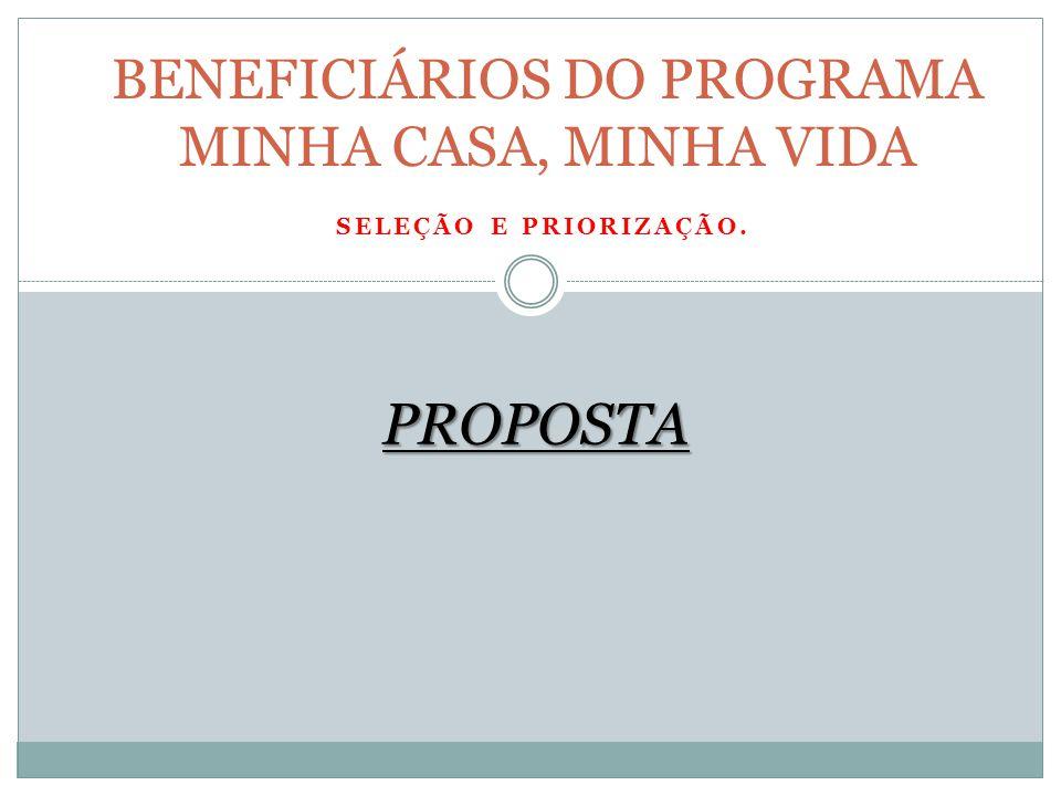 SELEÇÃO E PRIORIZAÇÃO. BENEFICIÁRIOS DO PROGRAMA MINHA CASA, MINHA VIDA PROPOSTA