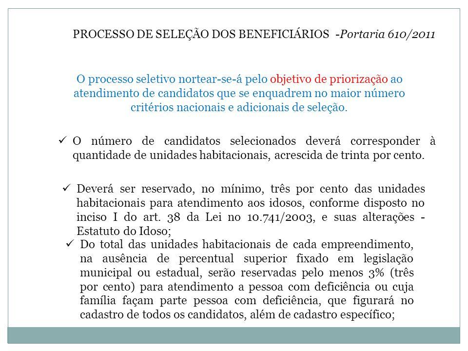 PROCESSO DE SELEÇÃO DOS BENEFICIÁRIOS -Portaria 610/2011 O processo seletivo nortear-se-á pelo objetivo de priorização ao atendimento de candidatos que se enquadrem no maior número critérios nacionais e adicionais de seleção.
