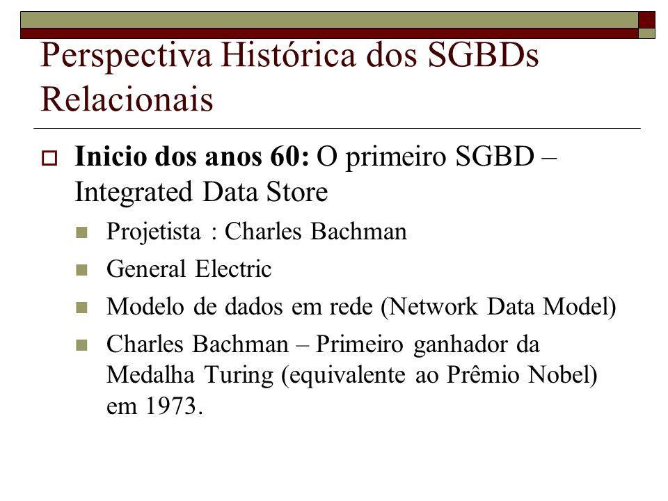 Perspectiva Histórica dos SGBDs Relacionais Inicio dos anos 60: O primeiro SGBD – Integrated Data Store Projetista : Charles Bachman General Electric Modelo de dados em rede (Network Data Model) Charles Bachman – Primeiro ganhador da Medalha Turing (equivalente ao Prêmio Nobel) em 1973.