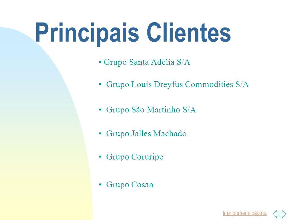 Ir p/ primeira página Principais Clientes Grupo Santa Adélia S/A Grupo Louis Dreyfus Commodities S/A Grupo São Martinho S/A Grupo Jalles Machado Grupo Coruripe Grupo Cosan