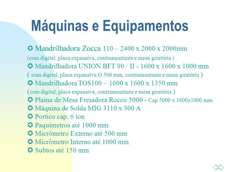 Máquinas e Equipamentos Mandrilhadora Zocca 110 – 2400 x 2000 x 2000mm (com digital, placa expansiva, contramontante e mesa giratória ) Mandrilhadora UNION BFT 90 / II - 1600 x 1600 x 1000 mm ( com digital, placa expansiva Ø 500 mm, contramontante e mesa giratória ) Mandrilhadora TOS100 – 1600 x 1600 x 1350 mm ( com digital, placa expansiva, contramontante e mesa giratória ) Plaina de Mesa Fresadora Rocco 5000 - Cap 5000 x 1600x1000 mm Máquina de Solda MIG 3110 x 300 A Portico cap.