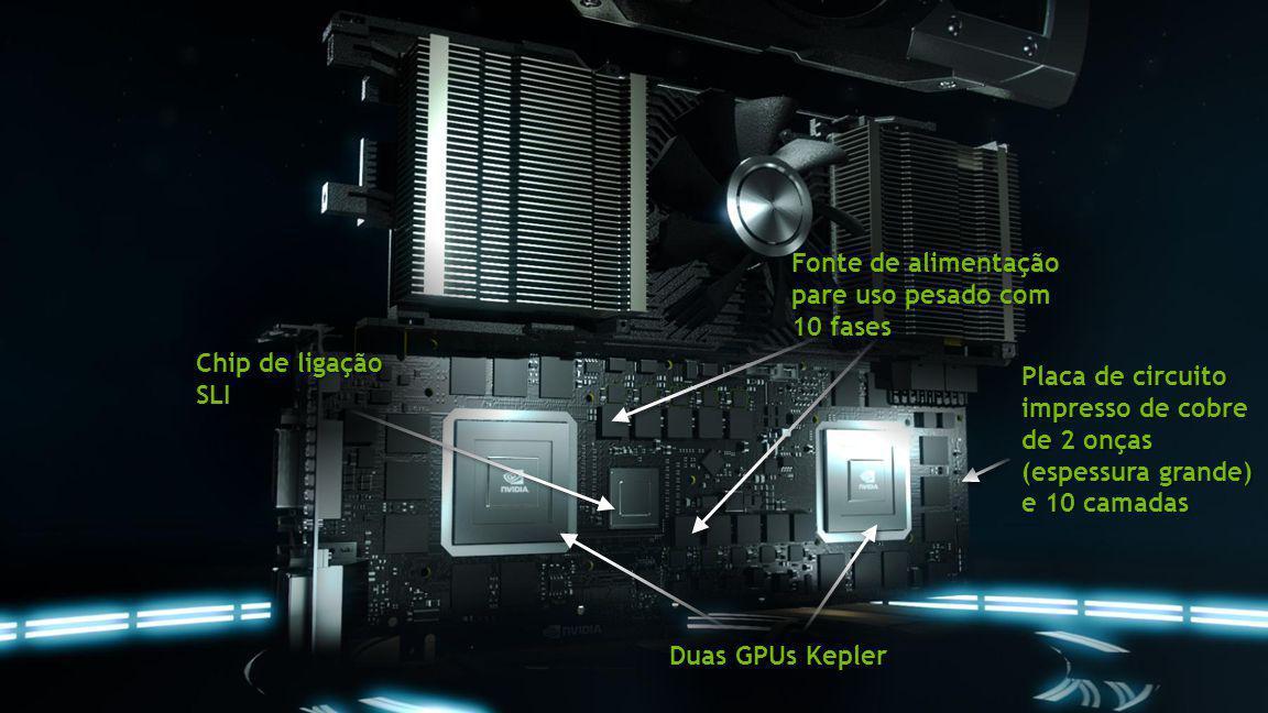 Duas GPUs Kepler Placa de circuito impresso de cobre de 2 onças (espessura grande) e 10 camadas Fonte de alimentação pare uso pesado com 10 fases Chip
