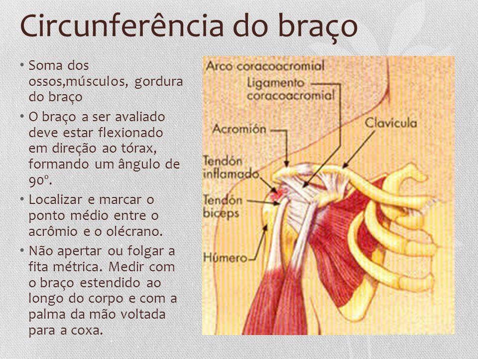 Circunferência do braço Soma dos ossos,músculos, gordura do braço O braço a ser avaliado deve estar flexionado em direção ao tórax, formando um ângulo de 90º.