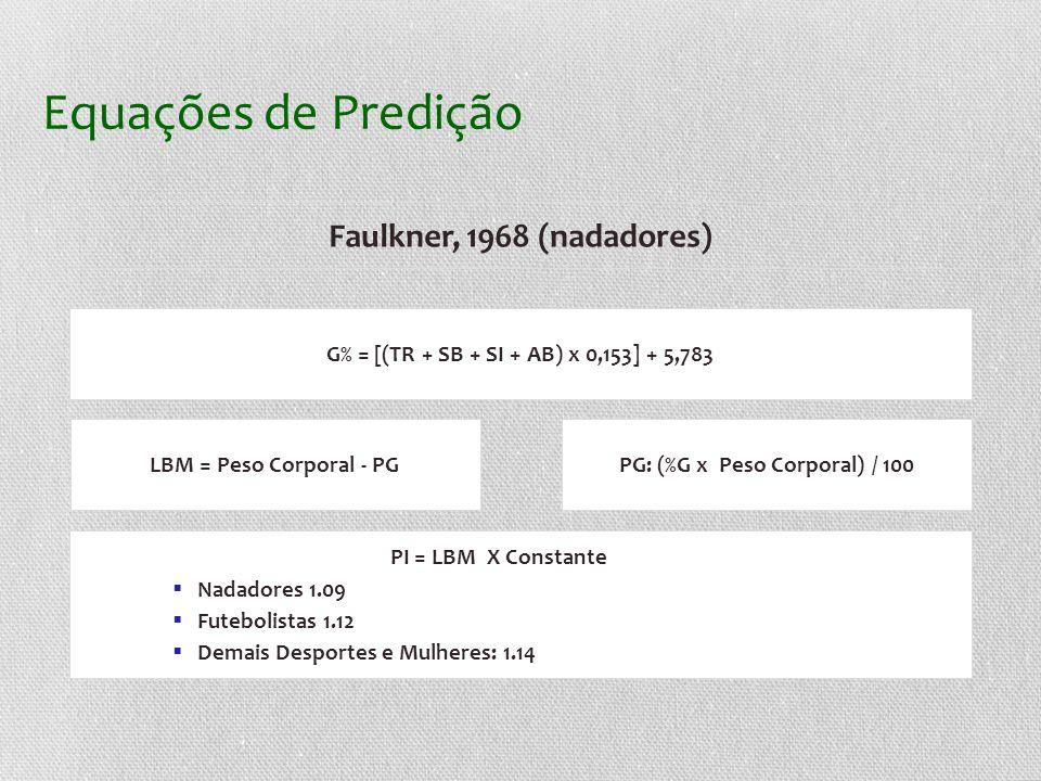 Equações de Predição Faulkner, 1968 (nadadores) G% = [(TR + SB + SI + AB) x 0,153] + 5,783 LBM = Peso Corporal - PGPG: (%G x Peso Corporal) / 100 PI = LBM X Constante Nadadores 1.09 Futebolistas 1.12 Demais Desportes e Mulheres: 1.14