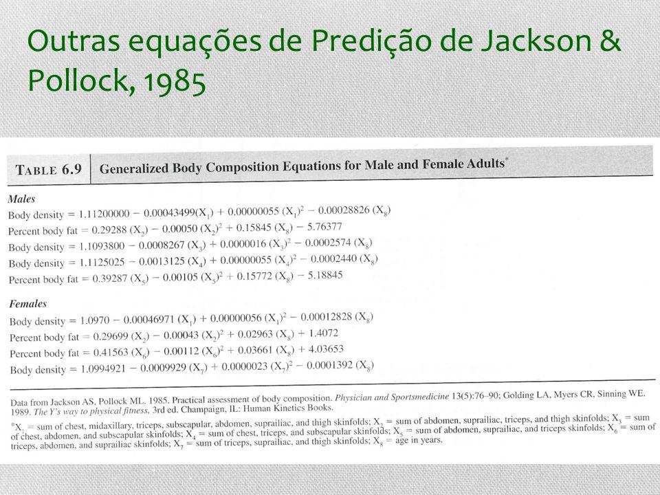 Outras equações de Predição de Jackson & Pollock, 1985